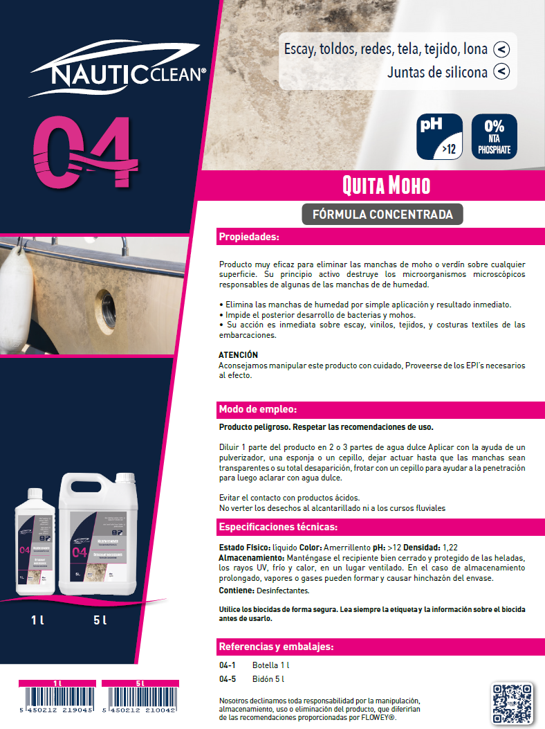 04 QUITAMANCHAS ANTIMOHO ESPRAY 750ML