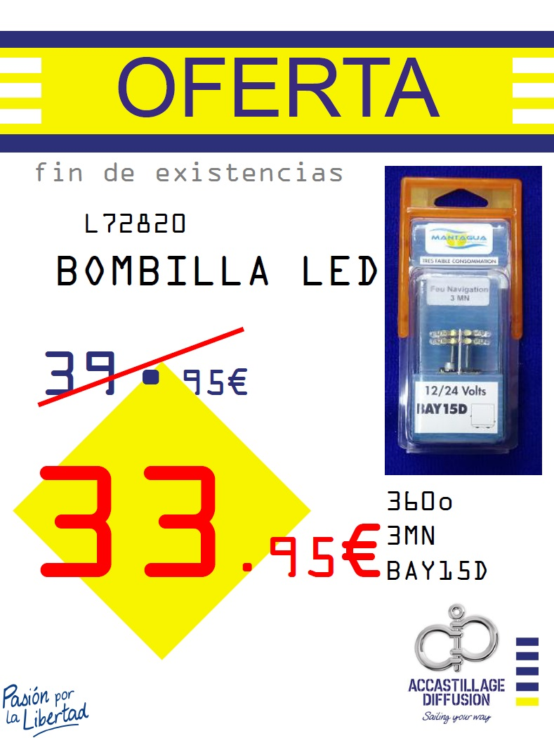 MANTAGUA-BOMB. LED 360o 3MN BAY15D